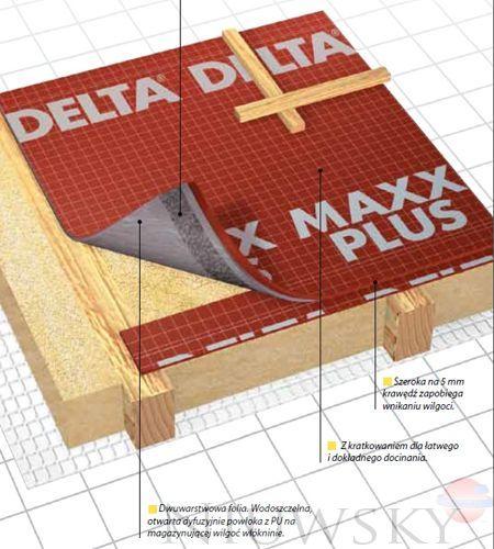 membrana dachowa otwarta dyfuzyjnie z paskiem klej cym 190 g m2 delta maxx plus dorken delta. Black Bedroom Furniture Sets. Home Design Ideas